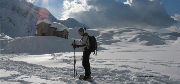 Ciaspolare presso l'Alpe Campagneda
