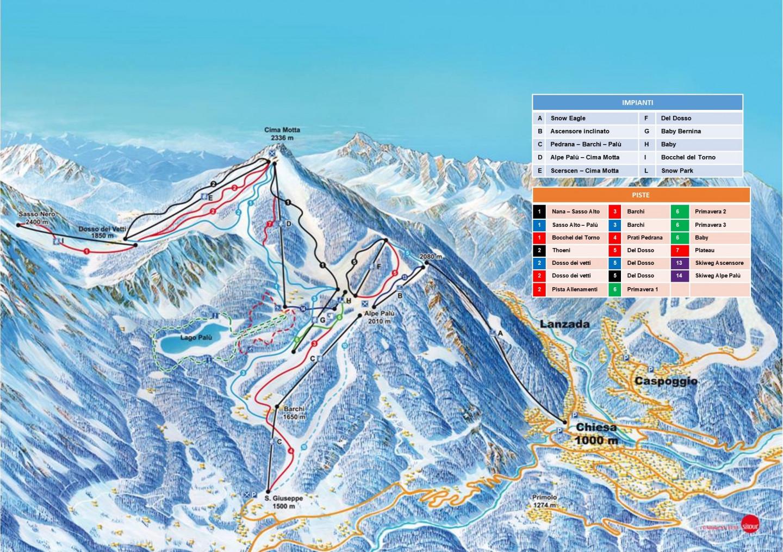 Mappa Ski area Valmalenco