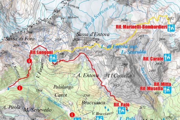 Cartina quarta tappa - variante Alta Via