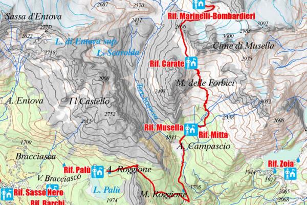 Cartina quinta tappa Alta via Valmalenco