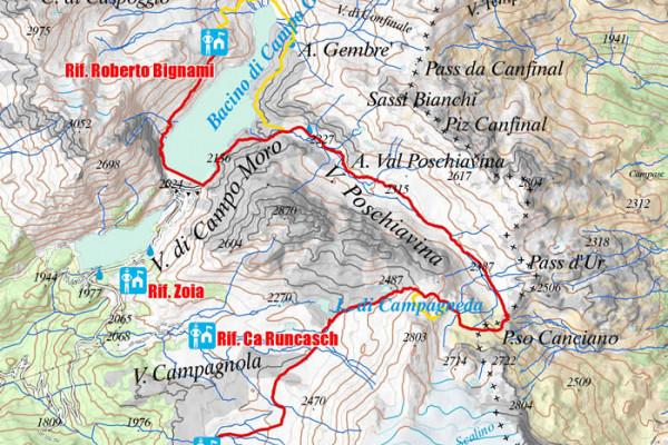 Cartina settima tappa Alta via Valmalenco