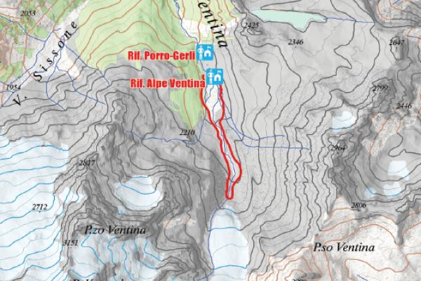 Cartina del sentiero glaciologico Vittorio Sella